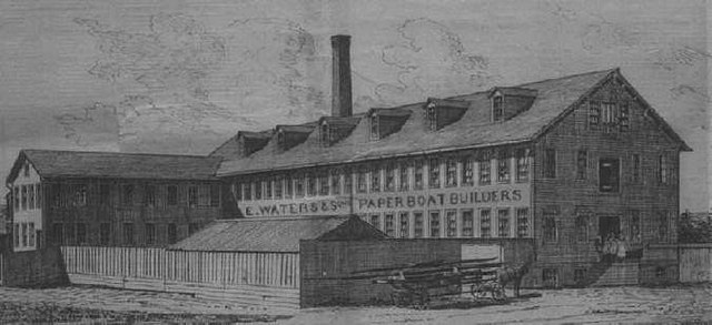 Waters Paper Boat Factory in Troy, NY c. 1875